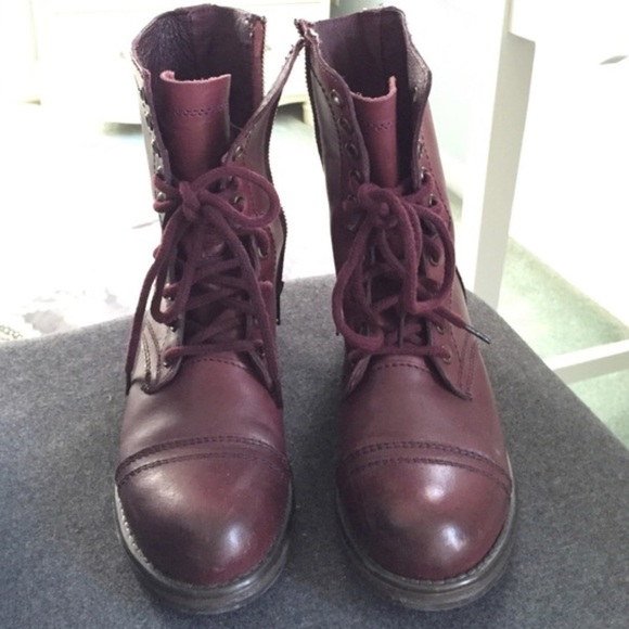 9adca1d4ab7 Steve Madden wine color combat boots